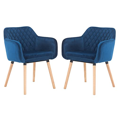 EiioX Dining Chairs Home Velvet Armchair with Wood Leg 2 Pack, Dlue, Dark Blue