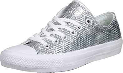 efedbdd5145 Image Unavailable. Image not available for. Color  Converse CTAS ll OX  Chuck Taylor All Star Silver White White