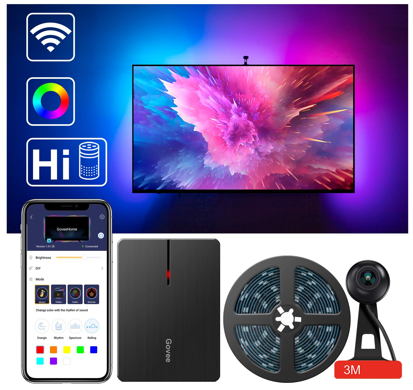 Govee LED TV Backlights, WiFi TV LED Strip Lights with Camera, Compatible with Alexa, App Control, RGBIC Music Sync, TV Ambient Bias Lighting for 55-65 inch TVs, Calibrate on App
