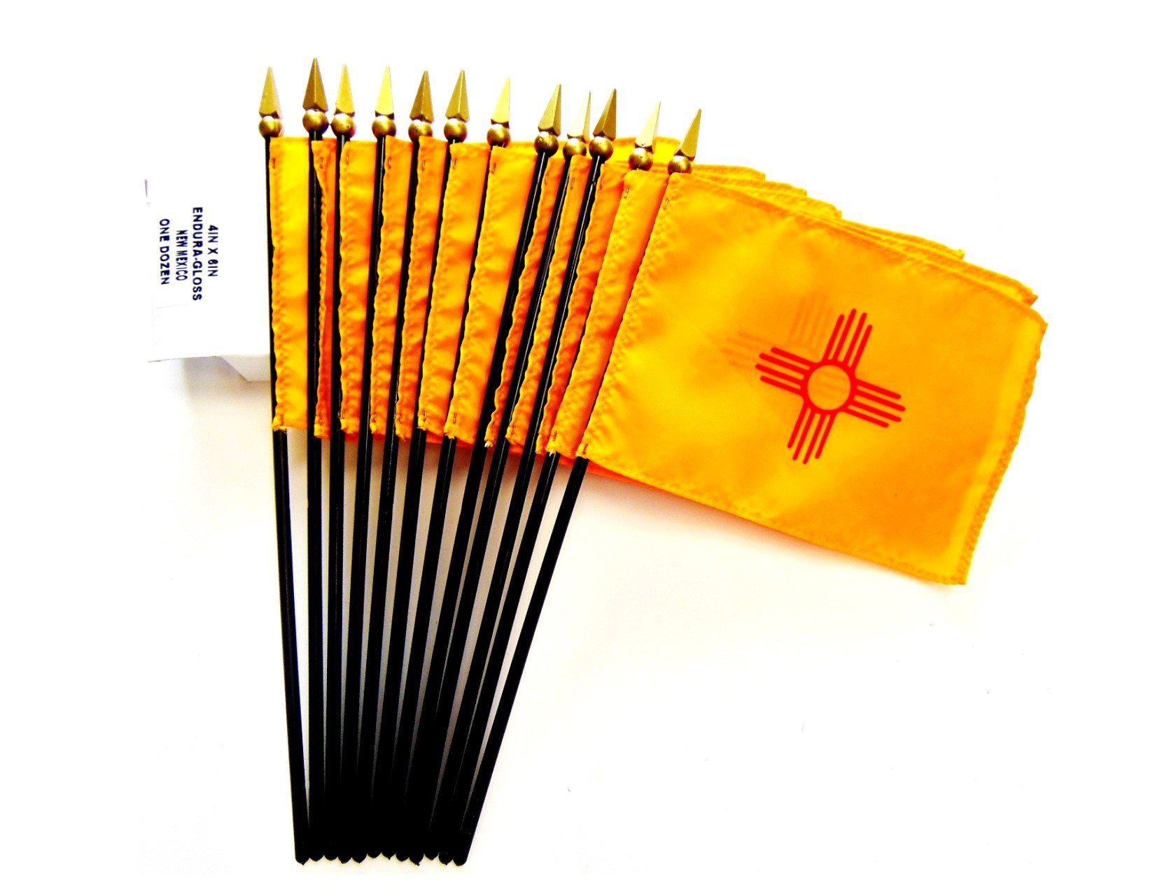 MADE IN USA!! Box of 12 New Mexico 4''x6'' Miniature Desk & Table Flags; 12 American Made Small Mini New Mexico State Flags in a Custom Made Cardboard Box Specifically Made for These Flags