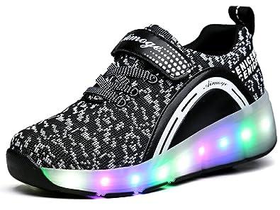 Junge Mädchen Dchen LED Schuhe mit Rollen Herren Skateboard Rollschuhe Damen Sneaker Leuchtend Sport Schuhe Sportschuhe Wanderschuh für Unisex-Kinder sQZLRY0J