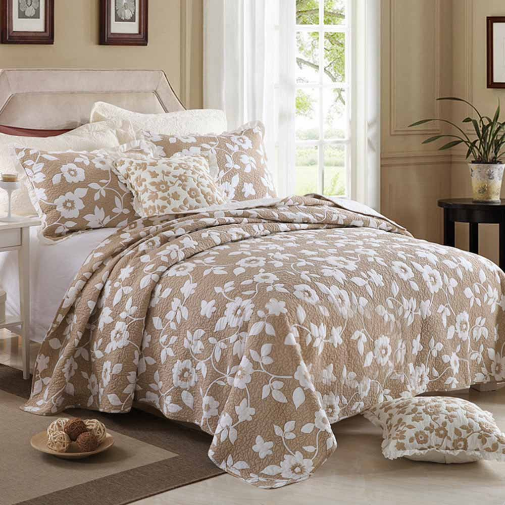 MicBridal 100% Cotton Reversible Coverlet Set Floral Printed Quilt Sets 3 Pieces Bedspread with Shams (Queen, Coffee)