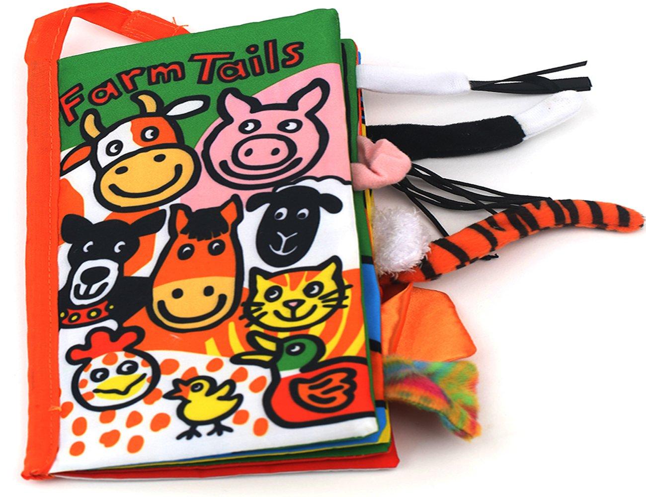 colas animales libro de tela bebé de juguete Desarrollo Libros Aprendizaje y Educación(Farm tails) weiming inc