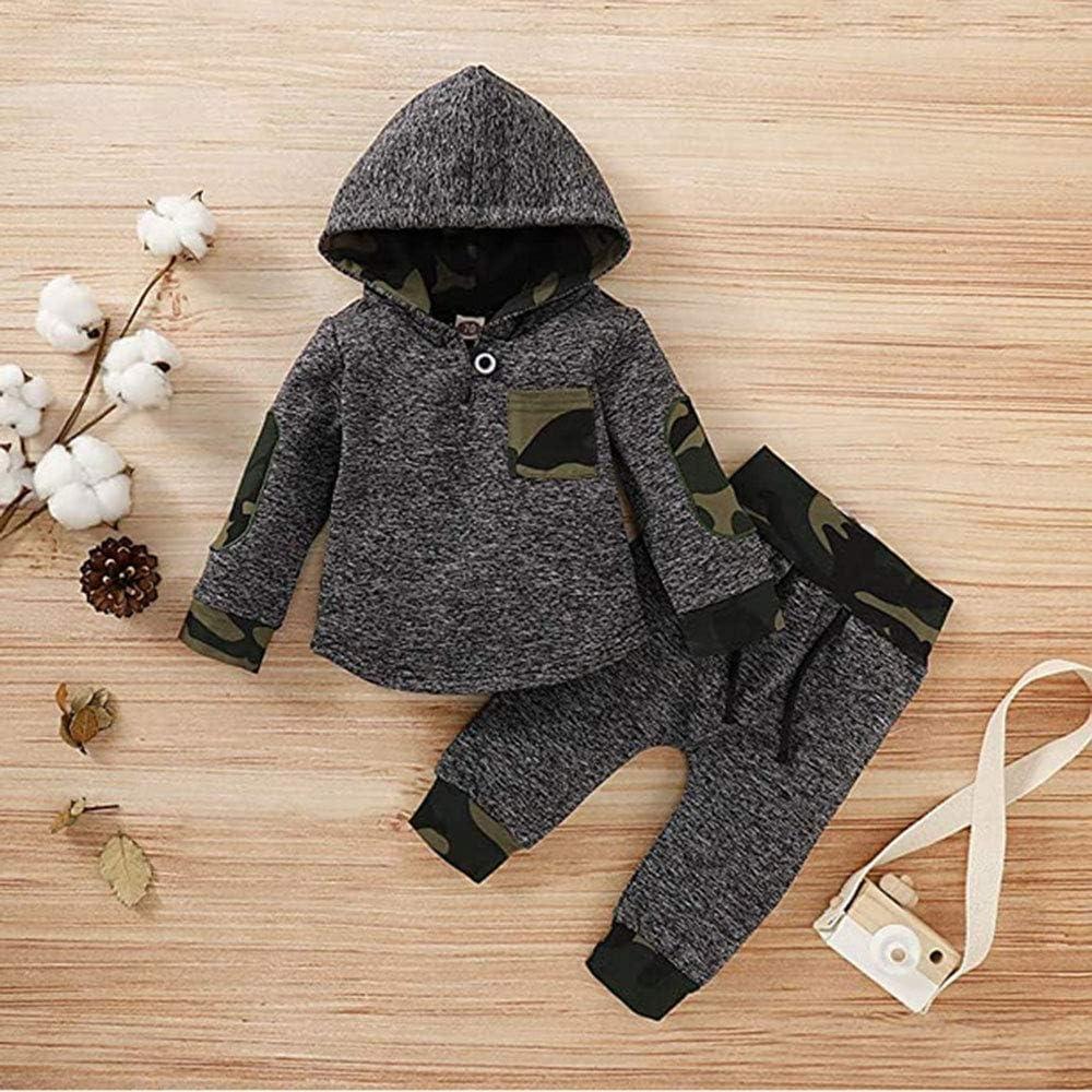 WonderBabe Kleinkind Baby Boy Kleidung Set Langarm Kapuze Sweatshirt Sweatshirt Freizeithose 2 St/ück Kleidung Set f/ür 0-4 Jahre