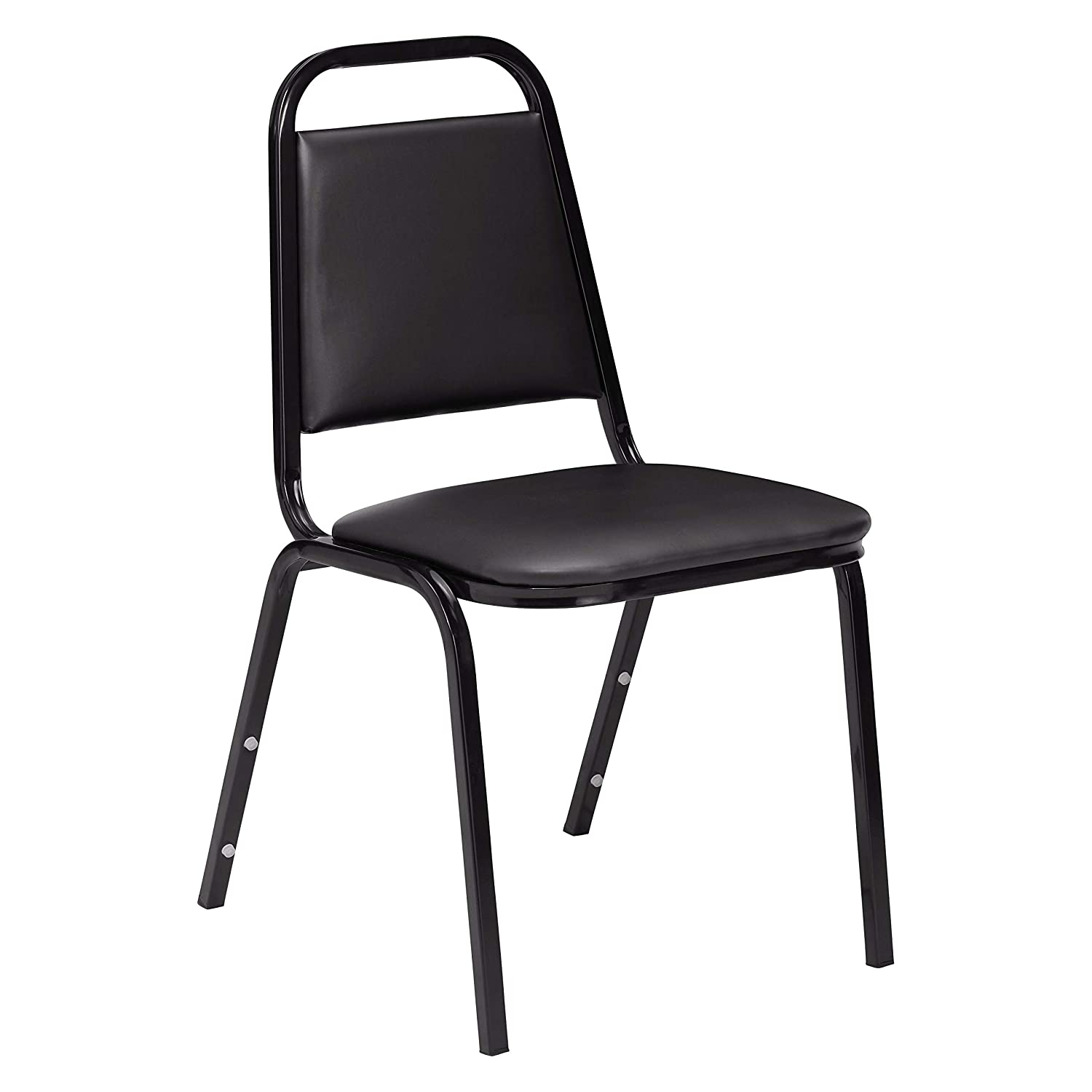 """NPS 9110-B Vinyl Upholstered Standard Stack Chair, 300 lbs Weight Capacity, 16"""" Length x 15-3/4"""" Width x 33"""" Height, Black"""