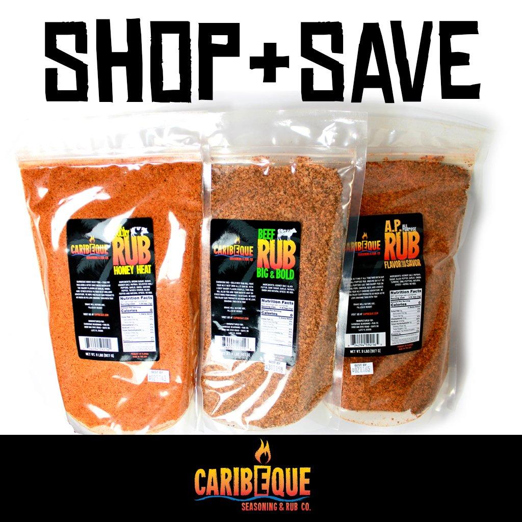Caribeque Rub 3 pack ( Honey Heat, Bold Beef, AP Rub )