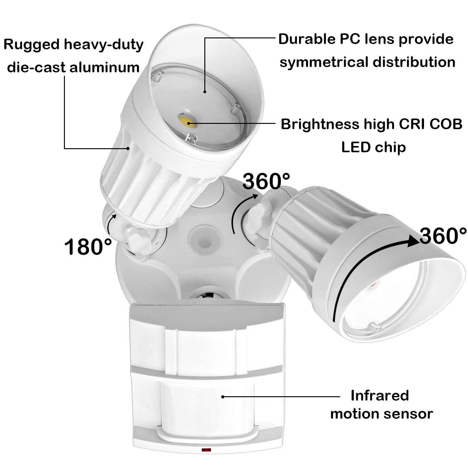 Hykolity 36w Pir Motion Detector Led Security Light Infrared With Sensor 3600lm Outdoor Wall Mount