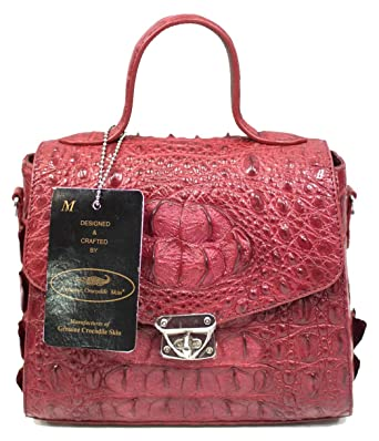 f7acb3a7df14e Image Unavailable. Image not available for. Color  Authentic M Crocodile  Skin Womens Hornback Leather Clutch Shoulder W Strap Handbag