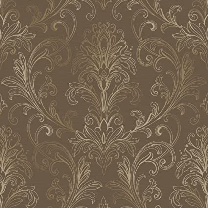York Wallcoverings BR6269 Whisper Prints Linear Damask Wallpaper Deep Mocha Gold Pearl Metallic