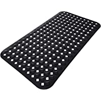 Yimobra Original Bath Tub and Shower Mat 27.5 X 15.5 Inches, Non-Slip with Drain Holes, Suction Cups, Machine Washable, Phthalate Free, No Latex, No BPA, Bathroom mat, Black
