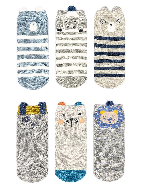 Adorel Calzini Antiscivolo Bambini Neonati confezione da 12 Multicolore 1-3 Anni