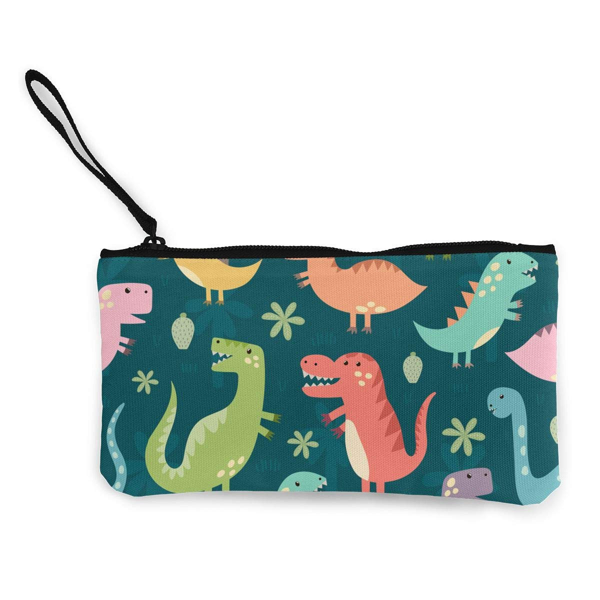 Canvas Coin Purse Dinosaur Change Cash Bag Zipper Small Purse Wallets