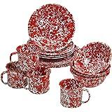 Enamelware 16 Piece Dinnerware Starter Set -Red Marble