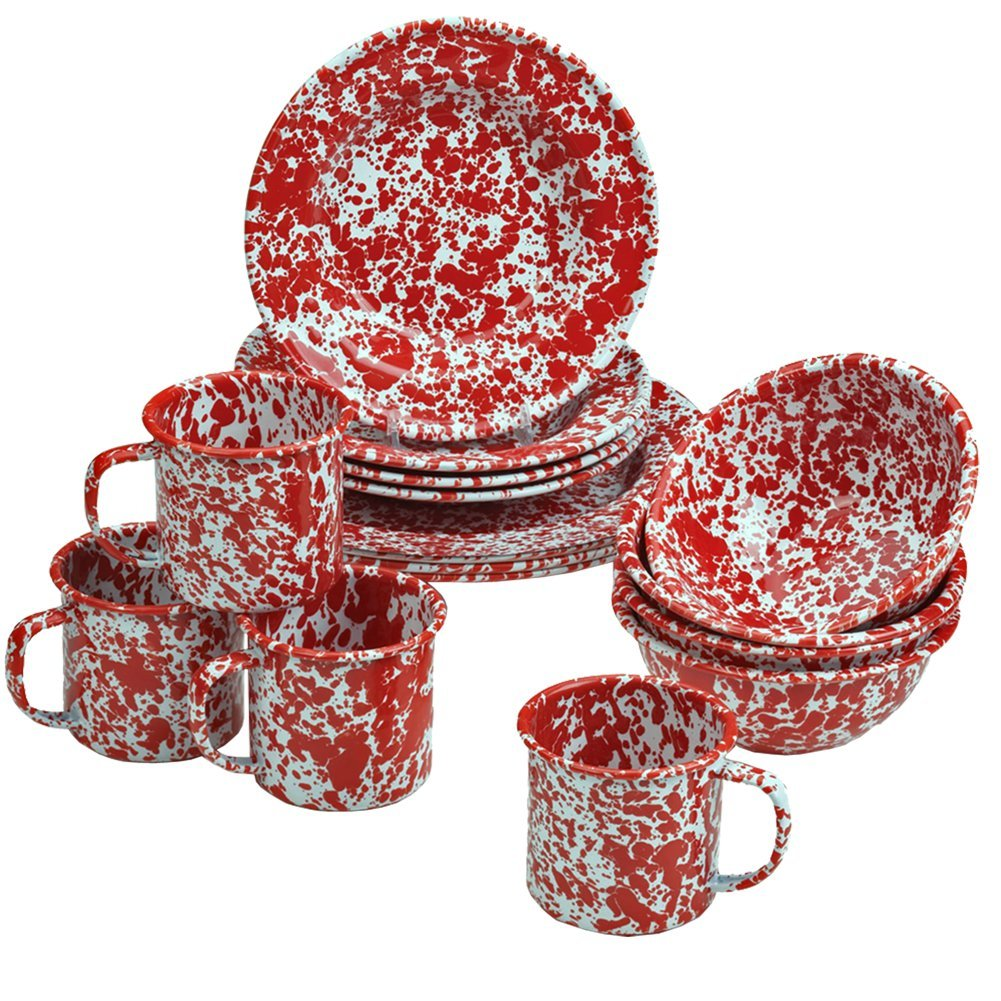 Amazon.com | Enamelware 16 Piece Dinnerware Starter Set  Red Marble: White  And Red Dinnerware: Dinnerware Sets
