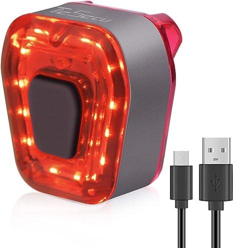 TESECU Luz Trasera de Bicicleta Inteligente Recargable USB, Super Brillante Rojo Luz LED Bici, Impermeable, Faro Trasero Bici para Máxima Seguridad de Ciclismo: Amazon.es: Deportes y aire libre