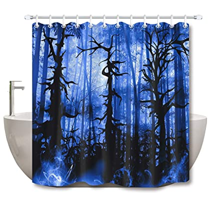 LB Spooky Forest Shower CurtainMysterious Dark Swirling All In Fog Atmosphere Halloween