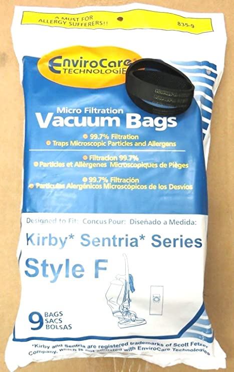 9 F Vacuum Bags & 2 Belts for Kirby Vacuum Sentria I II G10 G10D