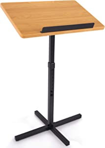 Portable Floor Lectern Podium Stand-Height Adjustable Steady Standing Design Teacher Speaker Lecture Classroom Presentation Stand, Laptop Computer Book Holder w/ Slanted Top Shelf-Pyle PLCTND44,BLACK