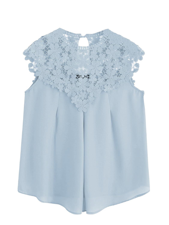 bluee Milumia Women's Keyhole Back Daisy Lace Shoulder Shell Top