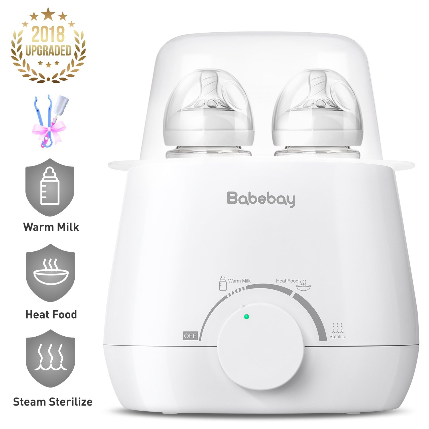 Baby Bottle Warmer, Steam Sterilizer & Baby Food Heater, 3-in-1 with Evenly Warming Breast Milk or Formula, Accurate Temperature Control, Bottle Brush and Tongs Included