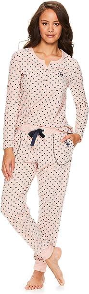 Womens Long Sleeve Shirt with Cuffed Lounge Pajama Pants Sleep Set U.S Polo Assn