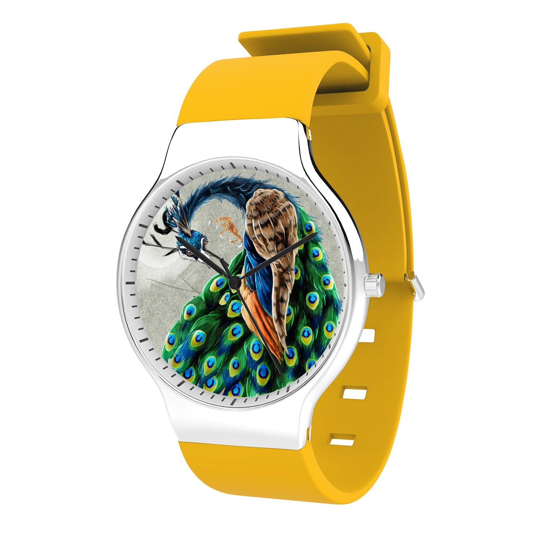 FELOOWSE Peacock Watch Men's Quartz Watches, Minimalist Slim Japanese Quartz Youth Silicone Watches, Fashion PracticalWaterproof Boys Watch Customized Watches