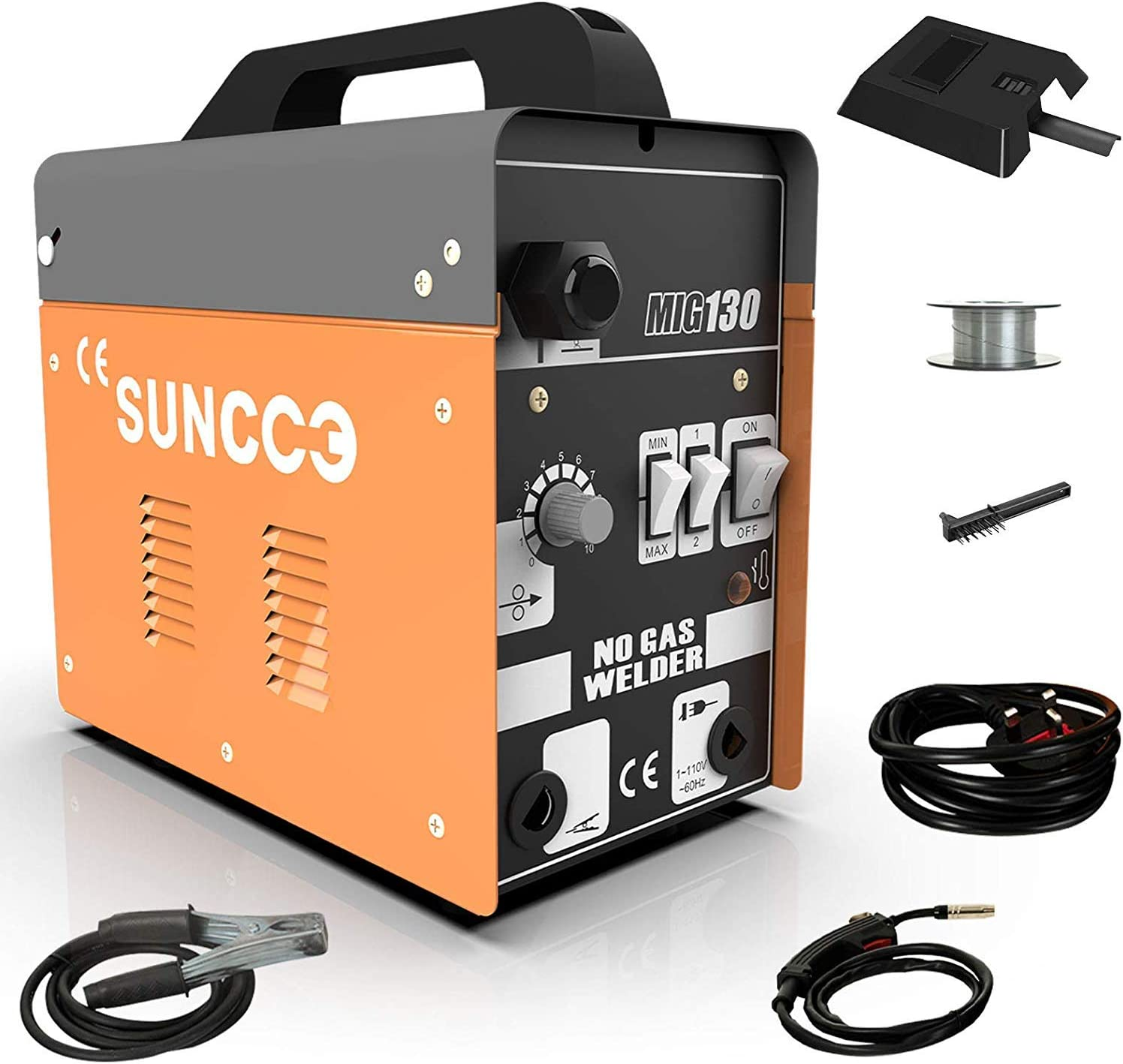 #1 SUNCOO 130 MIG Welder Flux Core Wire Automatic Feed Welding Machine