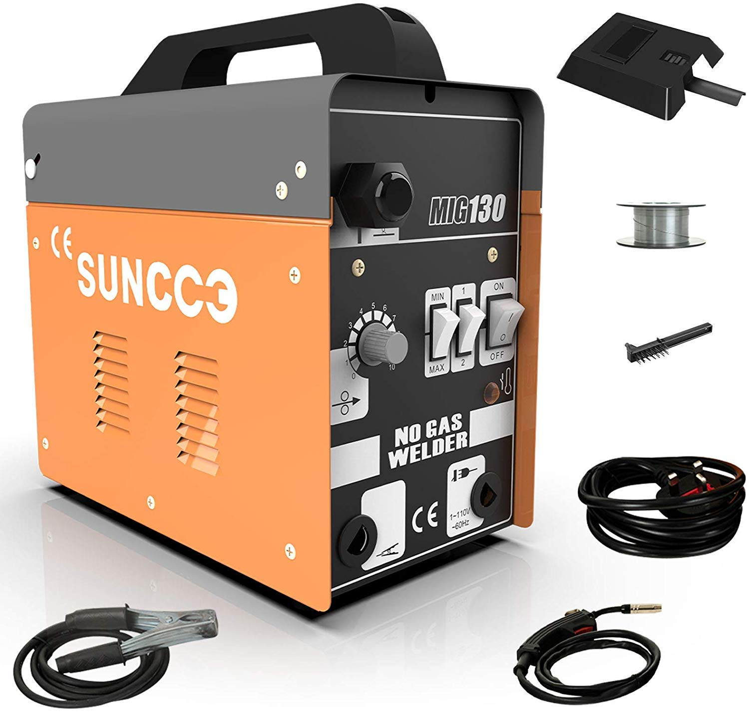 SUNCOO 130 MIG Welder Flux Core Wire Automatic Feed Gasless Little Welder Portable Welding Machine 110 Volt with Free Mask and Spool Gun Yellow by SUNCOO