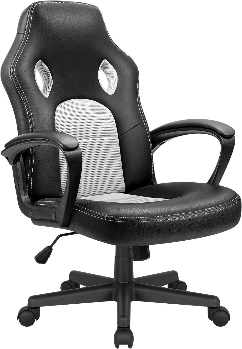 KaiMeng Office Gaming Chair Leather Computer Chair High Back Ergonomic Adjustable Racing Chair Executive Conference Chair (White)