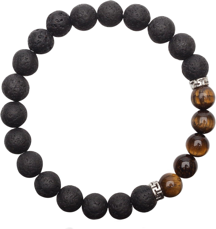 Unique pulsera de perlas lava y Ojo de tigre 8mm grado AAA banda elástico UNISEX 16cm para 18cm