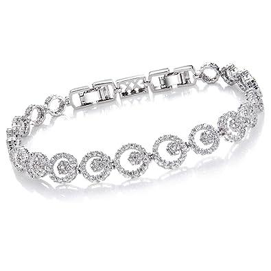 dec324996cb Comtex Pulseras Mujer Plata con Circonitas Pulsera Cristal Diamantes  Joyeria  Amazon.es  Joyería