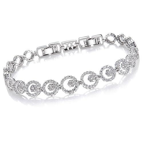 8c0811b1 Comtex Pulseras Mujer Plata con Circonitas Pulsera Cristal Diamantes Joyeria