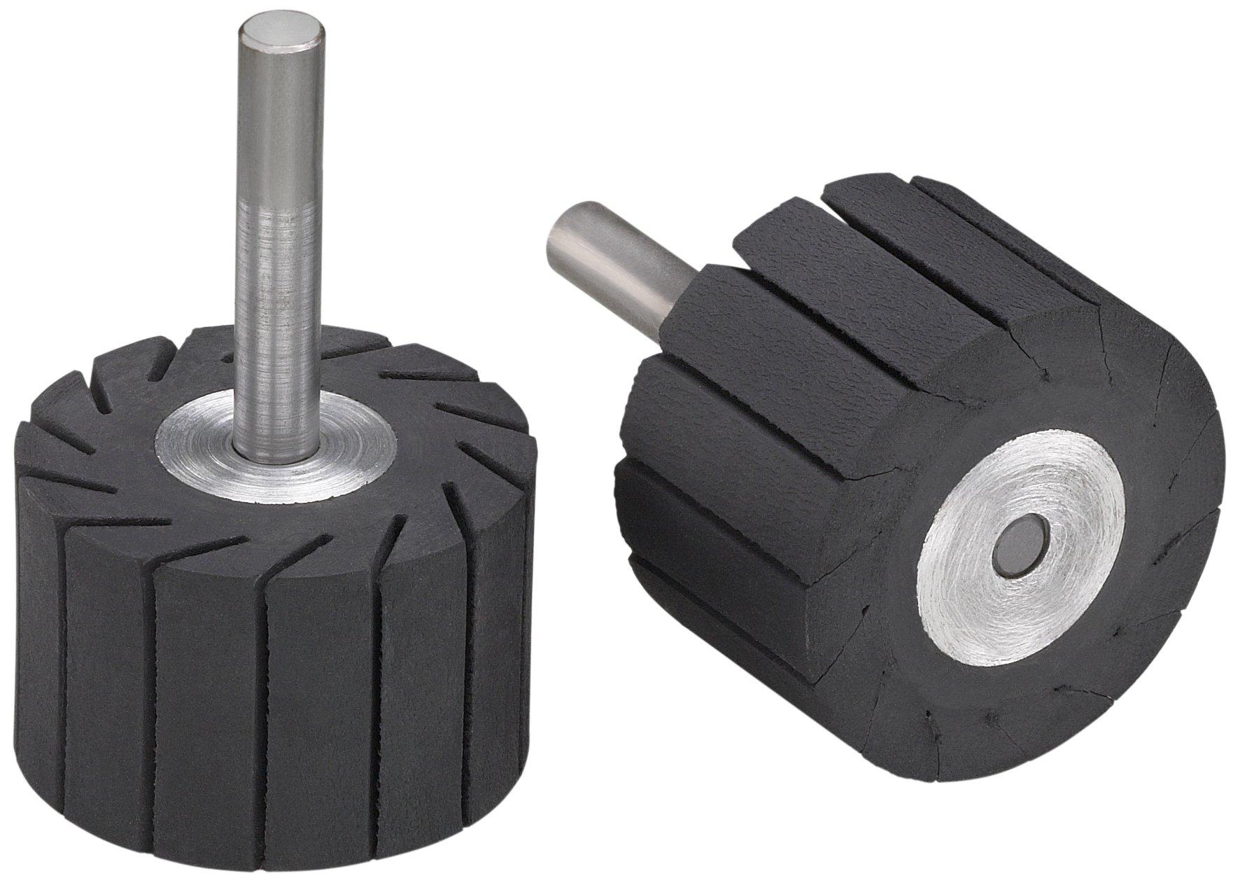 3M(TM) Rubber Slotted Expander Wheel 77718, Expanding Drum, 1-1/2'' Diameter x 1'' Width, 1/4'' Shank, 14000 rpm, Black (Pack of 1)