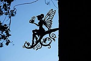 Steel Vine Fairy Decoration   Metal Art   Fairy Garden Art   Backyard Art   Tree Art   Silhouette Art   Corten Steel   Patina Rust