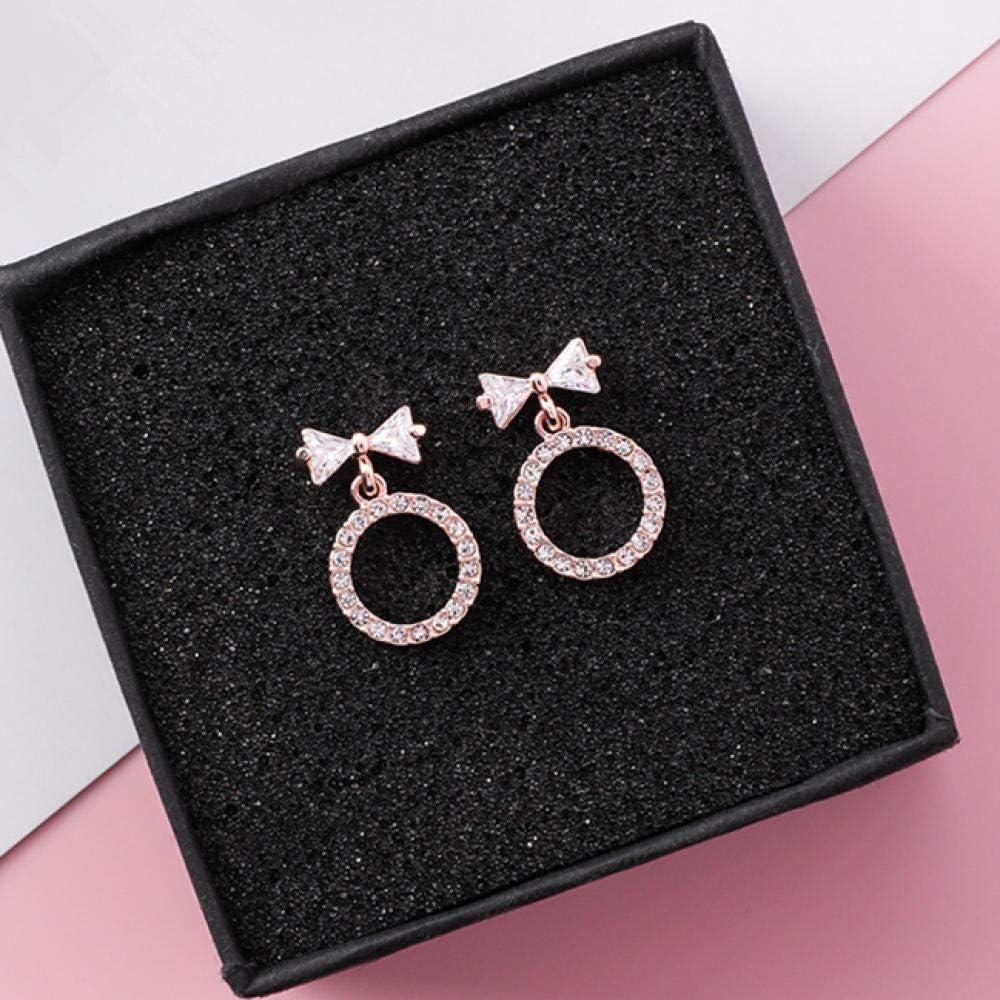 Erin Earring Pendientes Colgantes Geométricos con Lazo De Circonita Brillante para Niñas Anillo De Diamantes De Imitación Dulce Y Encantador Pequeño