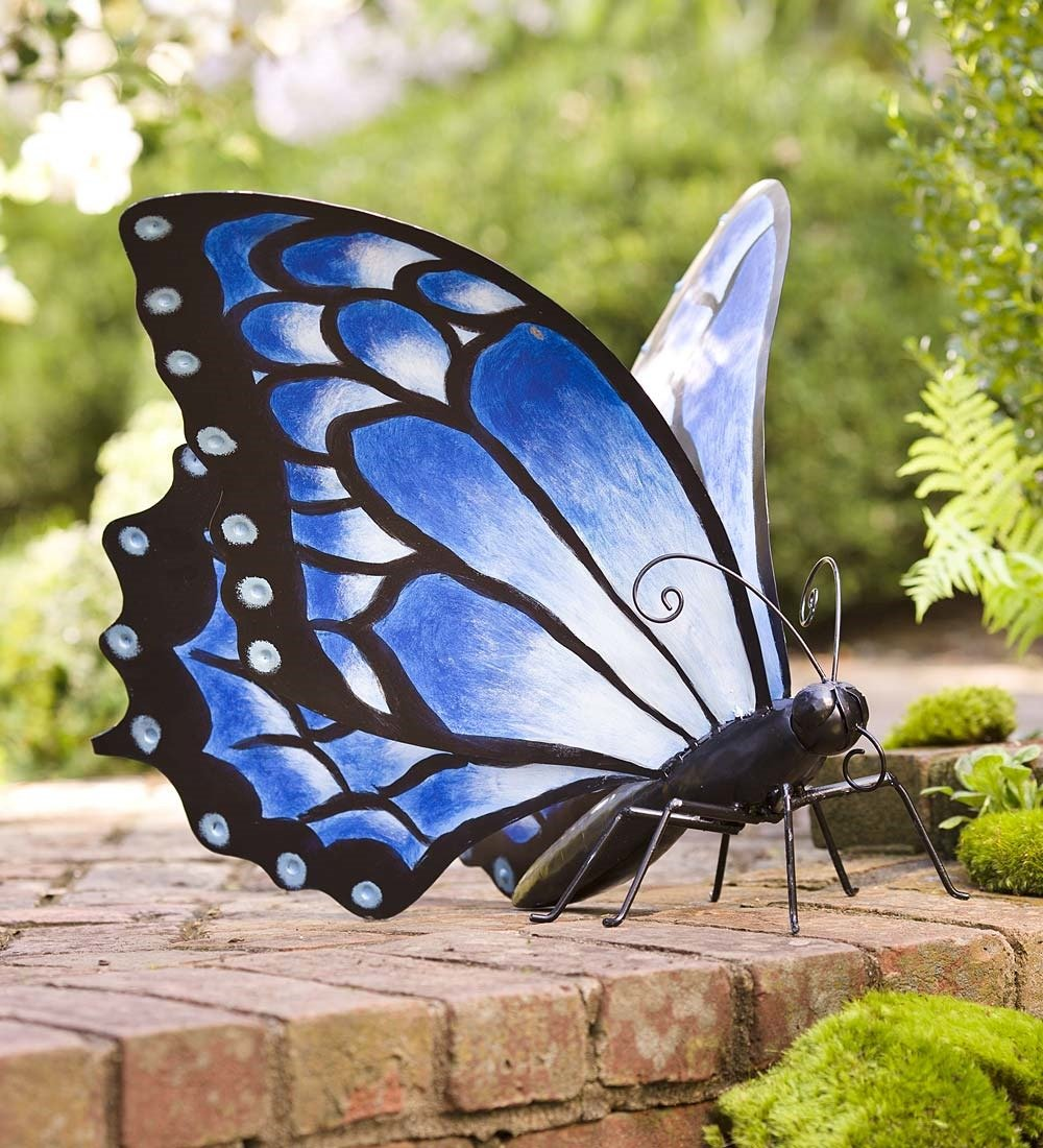 Wind & Weather Indoor Outdoor Large Blue Metal Butterfly Decor Free Standing Lawn Garden Patio Deck Yard Decorative Sculpture 25.5 L x 24.5 W x 17.25 H