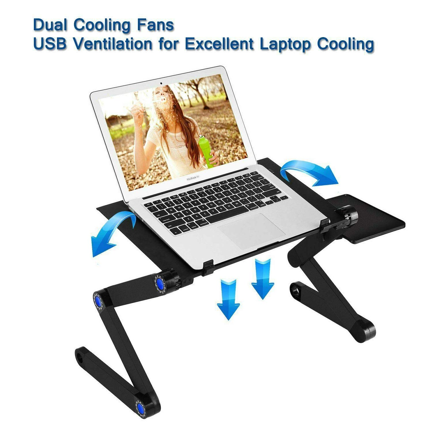 RAINBEAN Laptop Stand with 2 CPU Cooling USB Fans for Bed,Cozy Aluminum Vented Lap Workstation Desk with Mouse Pad,Foldable Book Reading Stand Notebook Tablet Holder on Sofa,Adjustable Bed Table Tray by RAINBEAN