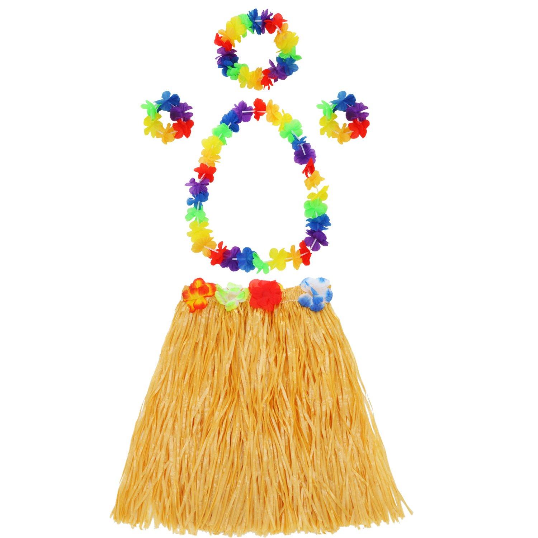 7e512fe4a78a Amazon.com: Hula Grass Skirt with Flower Leis Costume Set, Elastic Luau  Grass and Hawaiian Flower Bracelets, Headband, Necklace for Party Favors,  ...