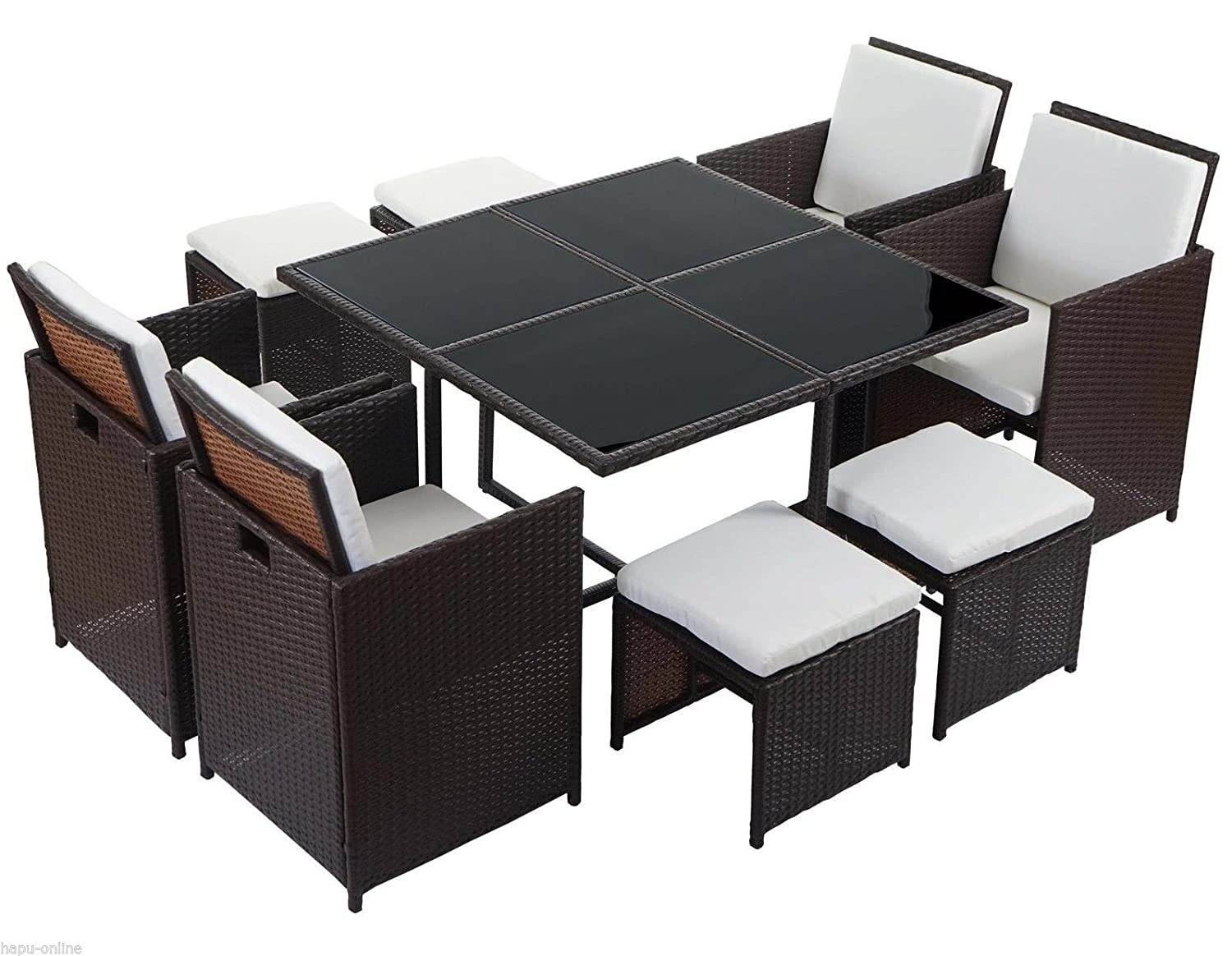 ssitg poly rattan garten garnitur set lounge sitzgruppe gartenm bel schwarz braun bestellen. Black Bedroom Furniture Sets. Home Design Ideas