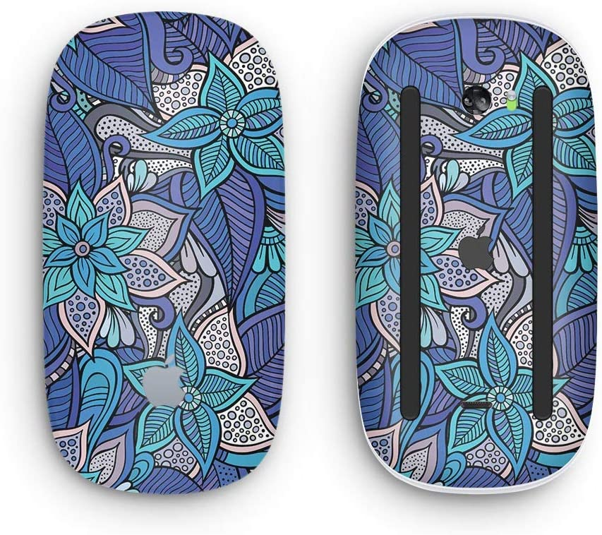 with Multi-Touch Surface Design Skinz Premium Vinyl Decal for The Apple Magic Mouse 2 Floral Blues Wireless, Rechargable