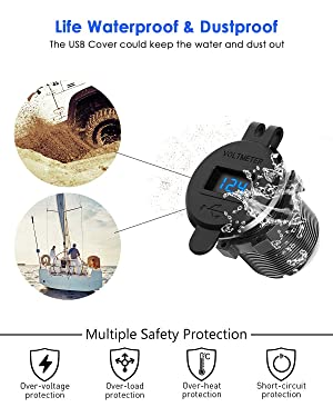 Quick Charge 3.0 Dual USB Charger Socket, SunnyTrip Waterproof Aluminum Power Outlet Fast Charge with LED Voltmeter & Wire Fuse DIY Kit for 12V/24V Car Boat Marine Motorcycle Truck Golf Cart and More (Color: Dual QC3.0)