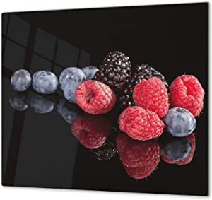 "KITCHEN BOARD & Induction Cooktop Cover – Glass Pastry Board; MEASURES: SINGLE: 23,62"" x 20,47""; DOUBLE: 2x 11,81"" x 20,47""; D07 Fruits and vegetables: Fruits 4"