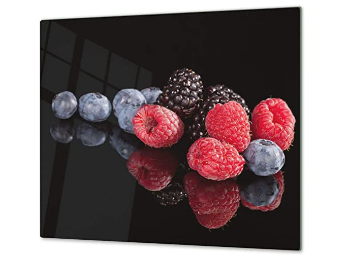 "KITCHEN BOARD & Induction Cooktop Cover – Glass Pastry Board; MEASURES: SINGLE: 23,62"" x 20,47""; DOUBLE: 2x 11,81"" x 20,47""; D07 Fruits and ..."