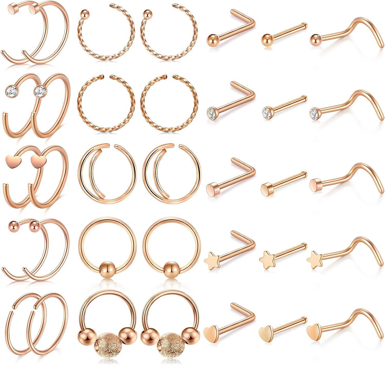 Amazon Com Modrsa 20g Nose Rings Hoop Stainless Steel Nose Rings