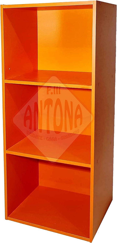Librería de colores modular de madera MDF laminada mueble estantería naranja