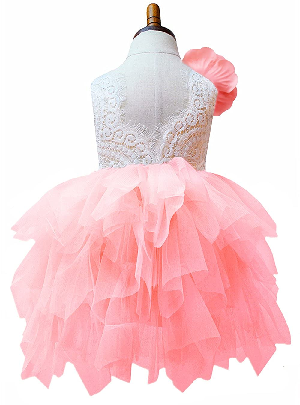 b1c343f58aa Amazon.com  2Bunnies Girl Lace Back Flower Girl Dresses (Pink with  Detachable Flower