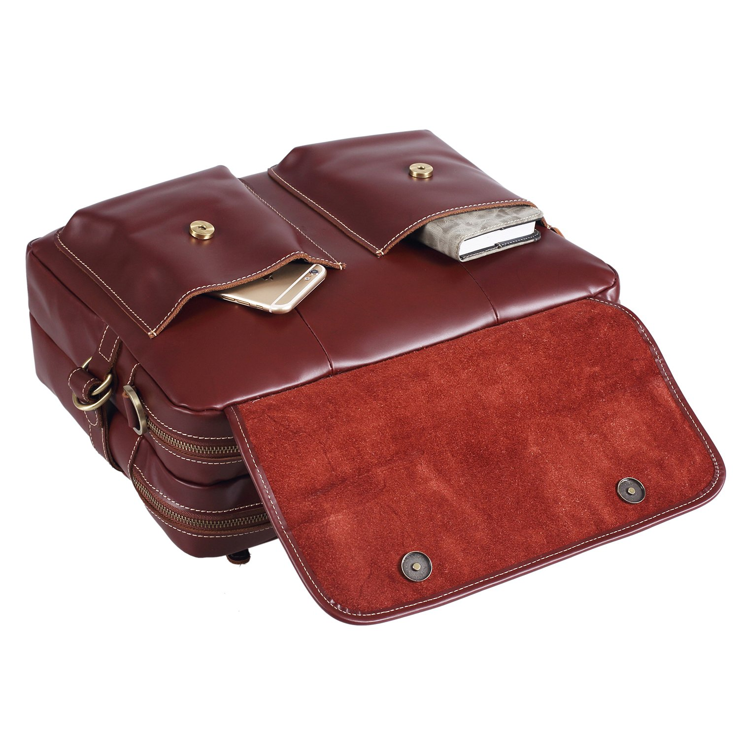 Polare Italian Leather Briefcase Should Bag Attache Fit 15.6inch Laptop by Polare (Image #5)
