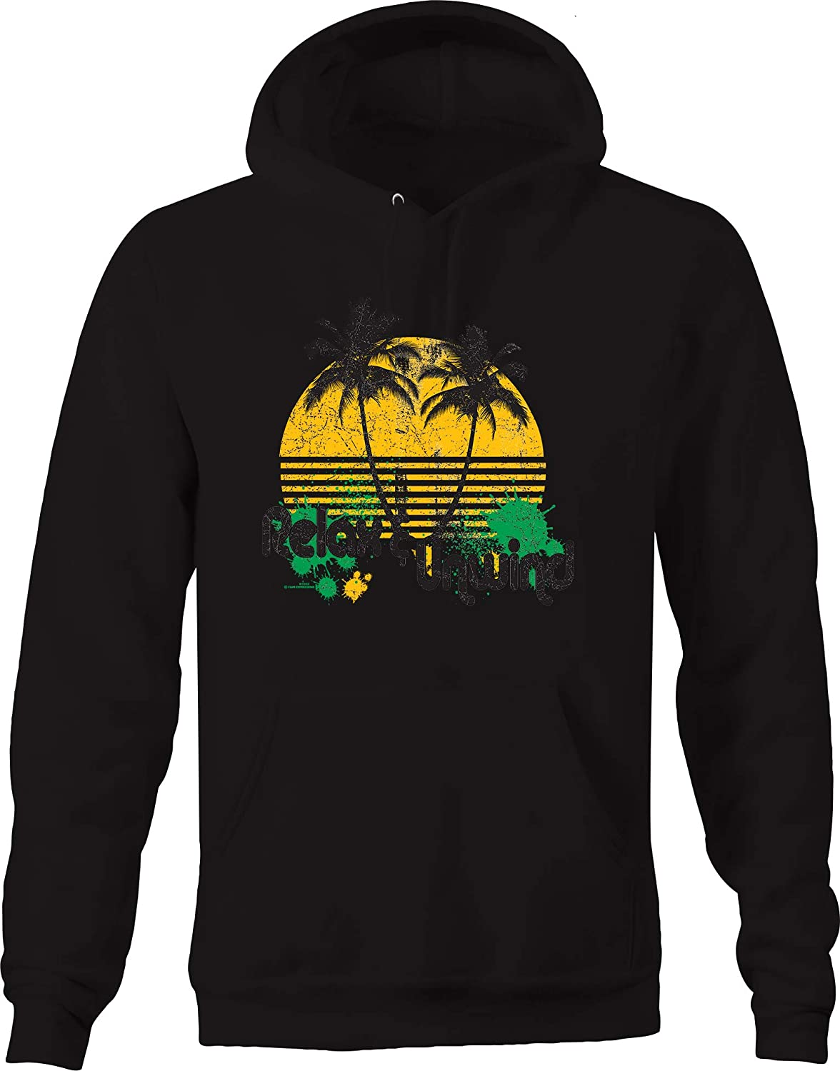 Relax and Unwind Distressed Palm Tree Sunset Splatter Paint Chill Hoodies for Men
