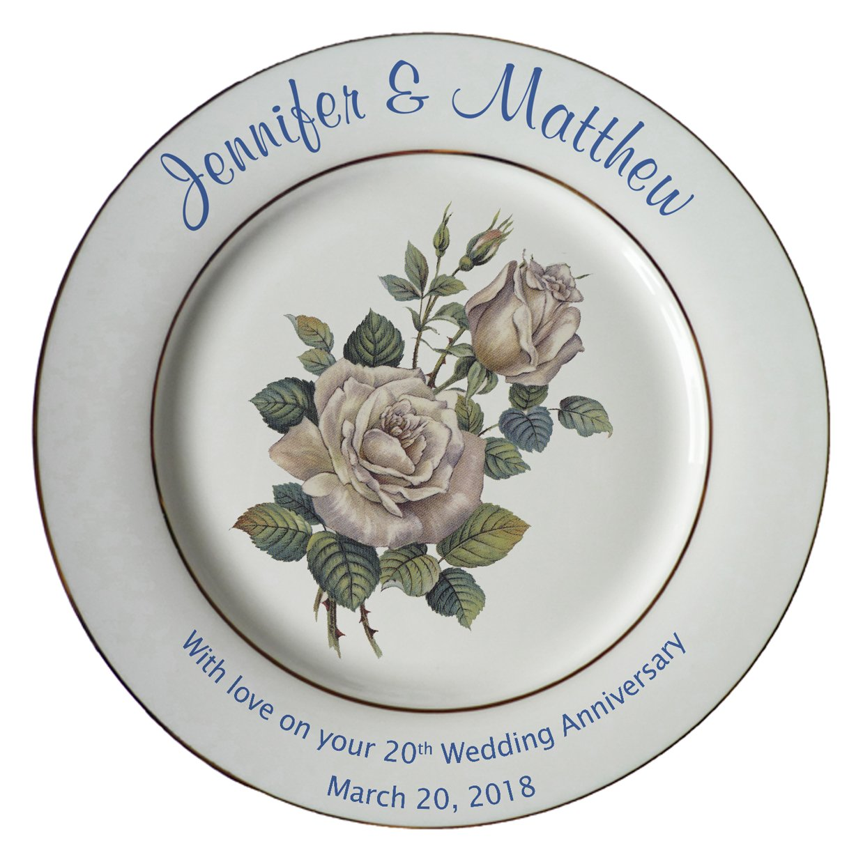 Heritage Pottery Personalized Bone China Commemorative Plate for A 20th Wedding Anniversary - White Rose Design with 2 Silver Bands