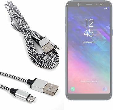 DURAGADGET Cable USB a Micro USB Trenzado en Color Plata y Negro. para Smartphone Samsung Galaxy A6, Samsung Galaxy A6+ 3 Metros.: Amazon.es: Electrónica